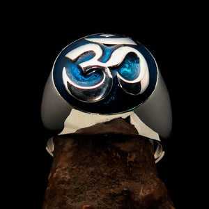 Nicely crafted domed Men's Buddhist Ring Blue Aum Symbol - Sterling Silver - BikeRing4u