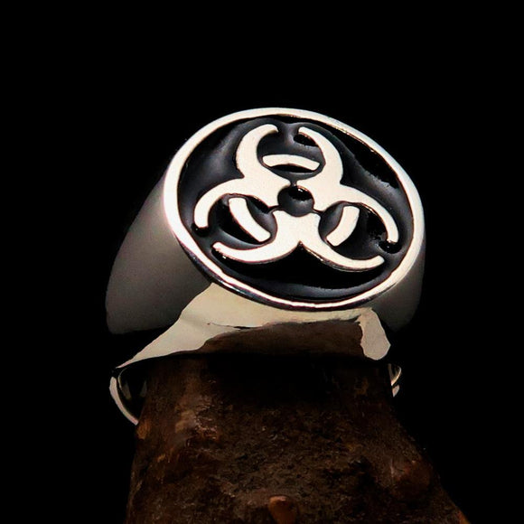 Nicely crafted Men's Biohazard Ring Black Toxic Waste Symbol - Sterling Silver - BikeRing4u