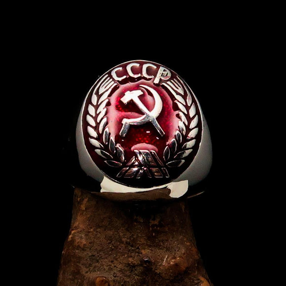 Perfectly crafted Men's Communist Ring red Hammer Sickle Crest CCCP - Sterling Silver