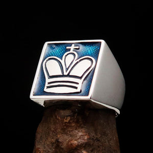 Perfectly crafted Men's Chess Player Ring King's Crown Blue - Sterling Silver - BikeRing4u