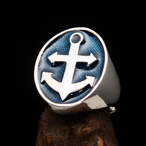 Perfectly crafted Men's Sailor Ring Big Anchor Blue - Sterling Silver - BikeRing4u