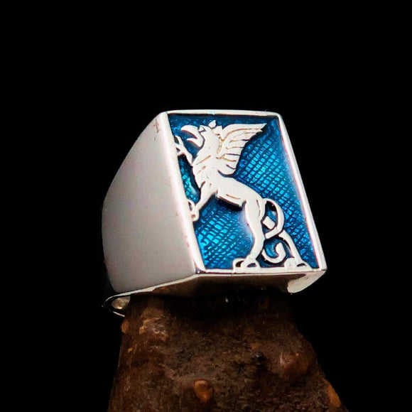 Perfectly crafted Men's Blue Griffin Ring Griffon - Sterling Silver - BikeRing4u