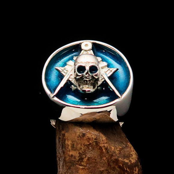 Perfectly crafted Men's Masonic Skull Ring Blue - Sterling Silver - BikeRing4u