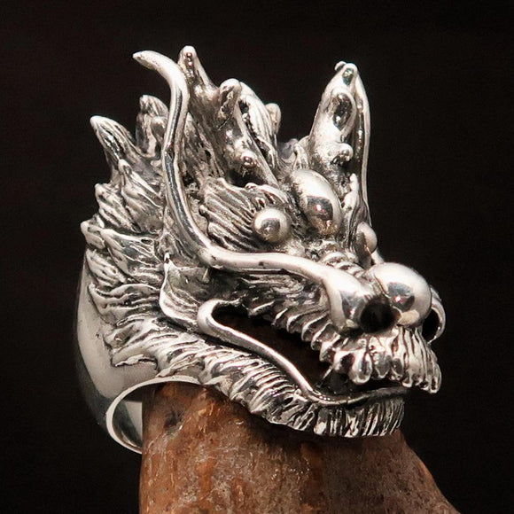 Excellent crafted Men's Animal Ring Male Dragon Sterling Silver 925 - BikeRing4u
