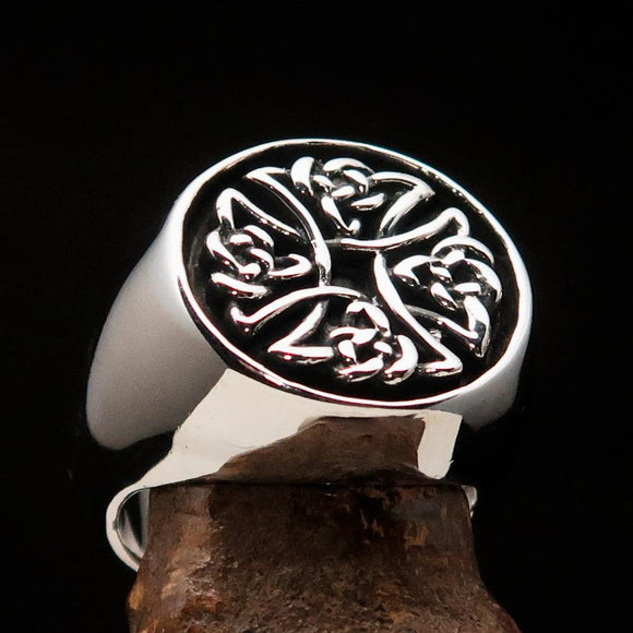 Perfectly crafted Men's Ring Celtic Birgit's Cross antiqued - Sterling Silver - BikeRing4u