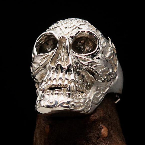Excellent crafted Men's Celtic Skull Ring Mirror Polish - Sterling Silver
