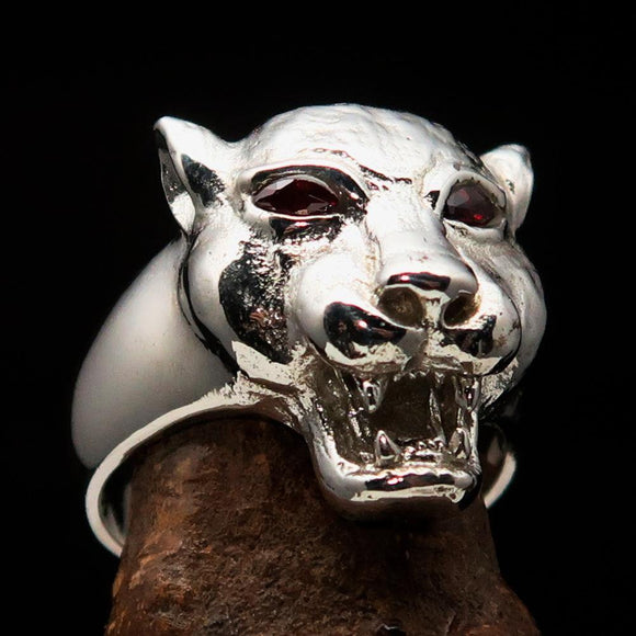 Excellent crafted Sterling Silver Men's Animal Ring Cougar red CZ Eyes