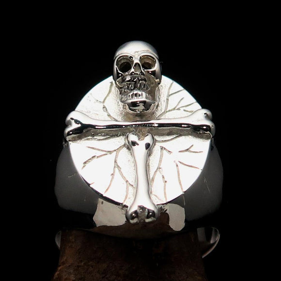 Excellent crafted Men's Ring Bone Cross R.I.P Skull mirror polish - Sterling Silver - BikeRing4u