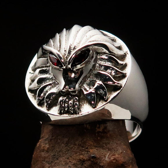 Excellent crafted Sterling Silver Men's Predator Ring Lion red CZ Eyes - BikeRing4u