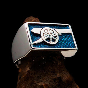 Perfectly crafted Men's Naval Cannon Ring Blue - Sterling Silver - BikeRing4u