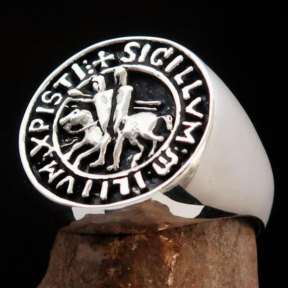 Excellent crafted Men's Sterling Silver Templar Knight Seal Ring - BikeRing4u