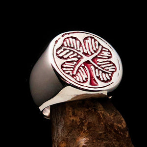 Excellent crafted Men's Signet Ring Four leaved Clover red  - Sterling Silver - BikeRing4u