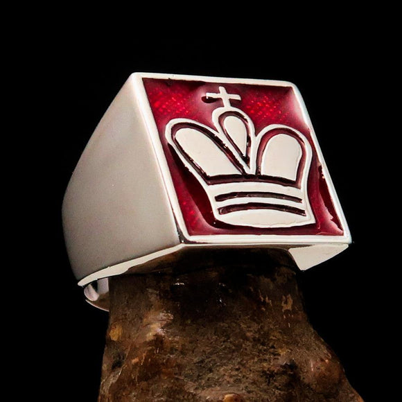 Perfectly crafted Men's Chess Player Ring King's Crown Red - Sterling Silver - BikeRing4u