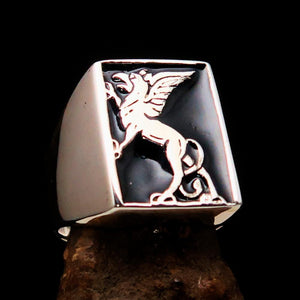 Perfectly crafted Men's Black Griffin Ring Griffon - Sterling Silver - BikeRing4u