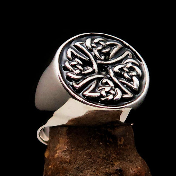Perfectly crafted Men's Ring Celtic Birgit's Cross Black - Sterling Silver - BikeRing4u