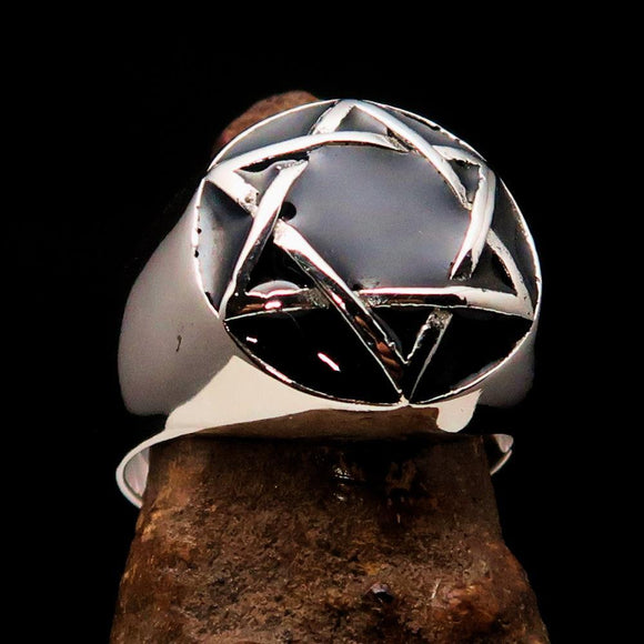 Nicely crafted Men's Hebrew Ring Black Star of David - Sterling Silver - BikeRing4u