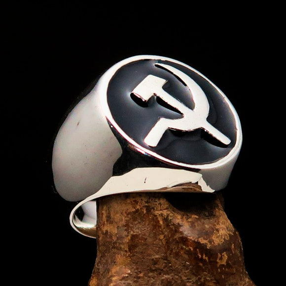 Excellent crafted Men's Socialist Ring Hammer Sickle Black - Sterling Silver