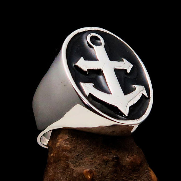 Perfectly crafted Men's Sailor Ring Big Anchor Black - Sterling Silver - BikeRing4u