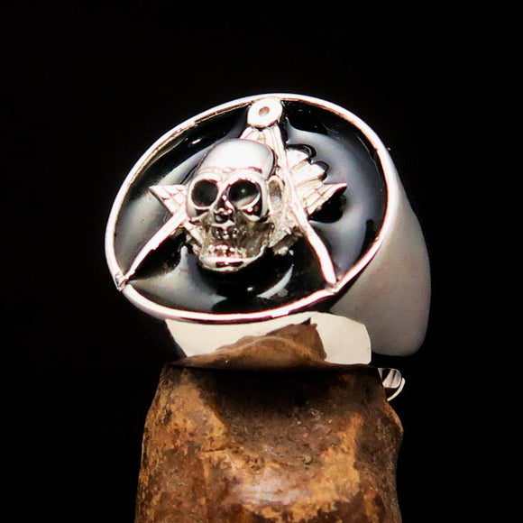 Perfectly crafted Men's Masonic Skull Ring Black - Sterling Silver - BikeRing4u