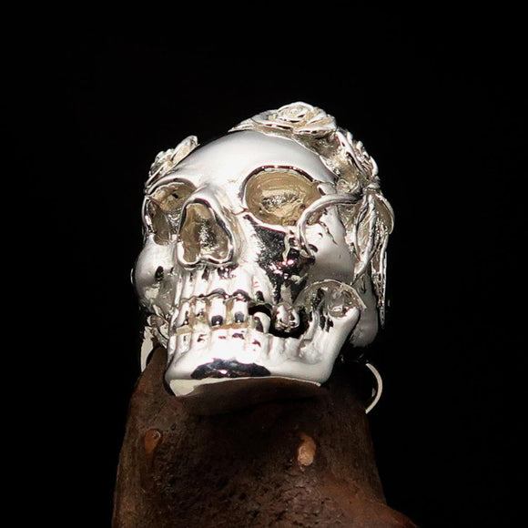 Excellent crafted Lady's Biker Granny Skull Ring - Mirror Polished Sterling Silver - BikeRing4u