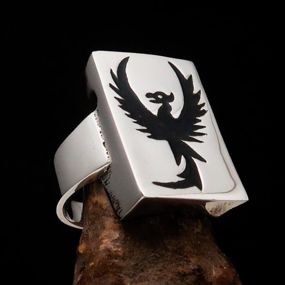Excellent crafted Men's Ring Black Phoenix - Sterling Silver - BikeRing4u