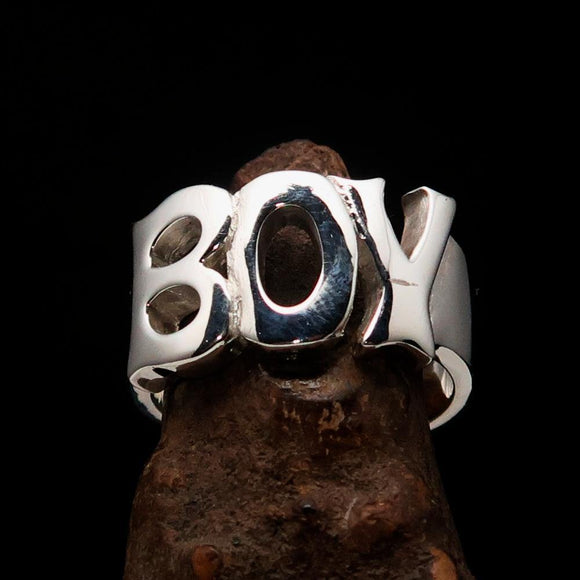 Excellent crafted One Word Boy Ring - Sterling Silver - BikeRing4u