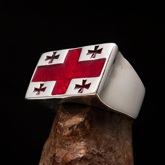 Perfectly crafted Men's Ring Flag of Georgia - Sterling Silver - BikeRing4u
