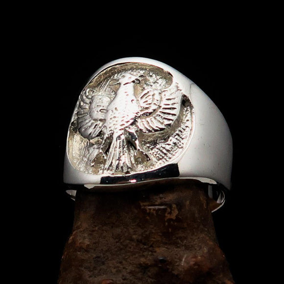 Excellent crafted ancient Men's Garuda Ring - Mirror Polished Sterling Silver BikeRing4u