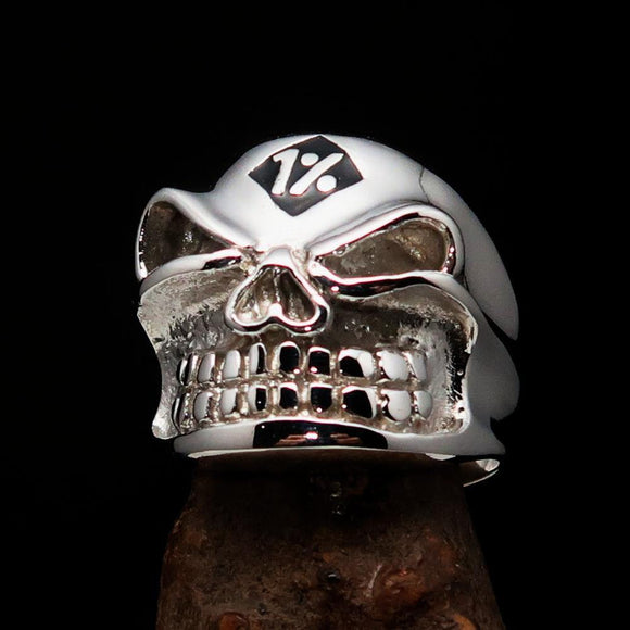 Excellent Crafted Men's Outlaw Black 1% er Gnome Skull Ring - Sterling Silver - BikeRing4u
