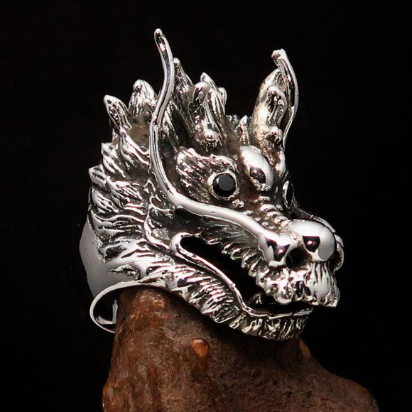 Excellent crafted Men's Animal Ring Male Dragon red eyes - Sterling Silver - BikeRing4u