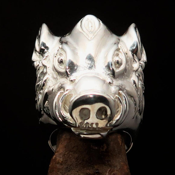 Excellent crafted Animal Ring shiny Boar Wild Pig - Sterling Silver 925