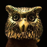 Excellent crafted Men's Brass Night Bird Ring Owl Head - BikeRing4u
