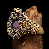 Excellent crafted Men's Brass Ring Ancient Maya Inca Dragon Red CZ - BikeRing4u