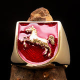 Perfectly crafted Men's Ring Horse Coat of Arms Red - Solid Brass - BikeRing4u