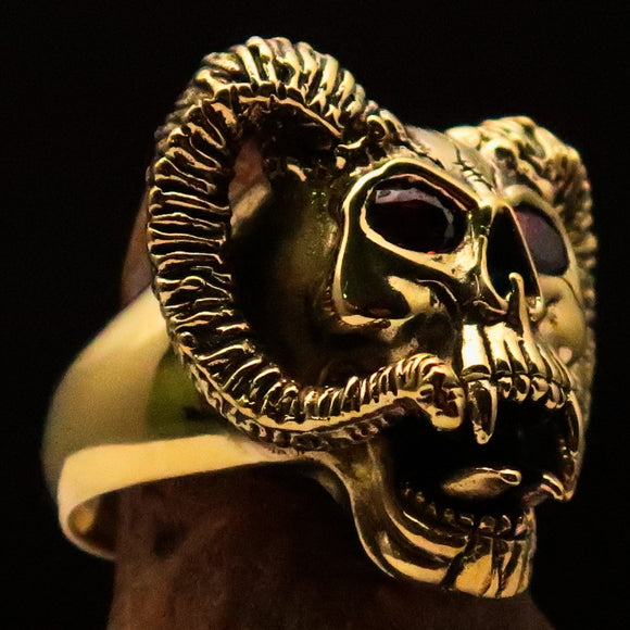 Excellent crafted Men's Brass Biker Ring Horned Ram Skull red CZ Eyes - BikeRing4u