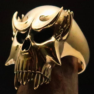 Excellent crafted Men's Brass Warlord Biker Ring Vampire Skull - BikeRing4u
