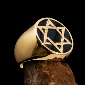 Excellent crafted Men's Pinky Ring Black Star of David - Solid Brass - BikeRing4u