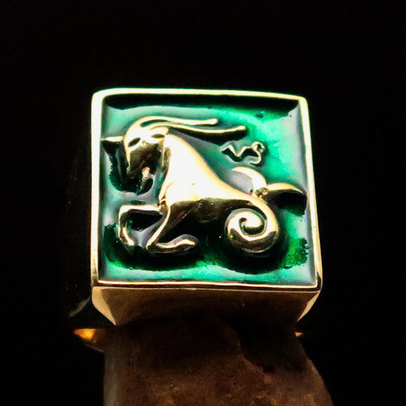 Brass Men's Zodiac Ring Capricorn in Green - BikeRing4u