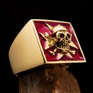 Excellent crafted Men's Pirate Skull Ring red Maltese Cross - Solid Brass - BikeRing4u