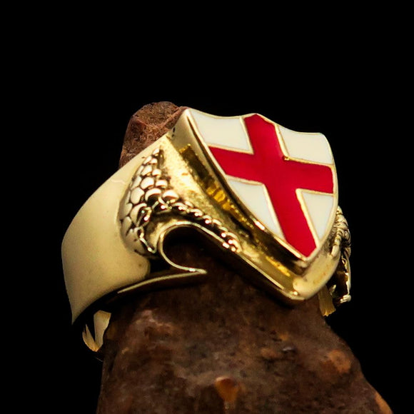 Men's Brass Shield Ring Flag of England Red Cross on White - BikeRing4u