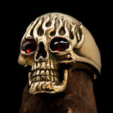 Excellent crafted Men's Brass Biker Ring flaming Skull on Fire Red CZ Eyes - BikeRing4u