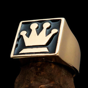 Perfectly crafted Men's Chess Player Ring Queen's Crown Black - Solid Brass - BikeRing4u