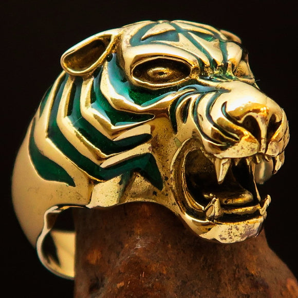 Excellent crafted Men's Animal Ring Male Tiger Green - Brass - BikeRing4u