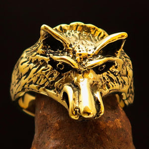 Excellent crafted Men's Animal Ring Coyote Antiqued - Brass - BikeRing4u