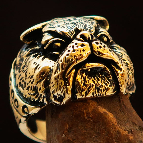 Excellent crafted Men's Animal Ring Bulldog Antiqued - Brass - BikeRing4u