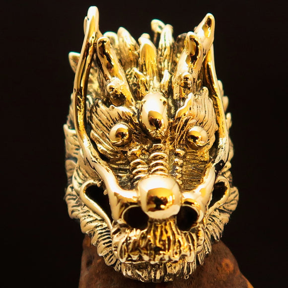 Excellent crafted Men's Animal Ring Big Dragon Head Antiqued - Brass - BikeRing4u