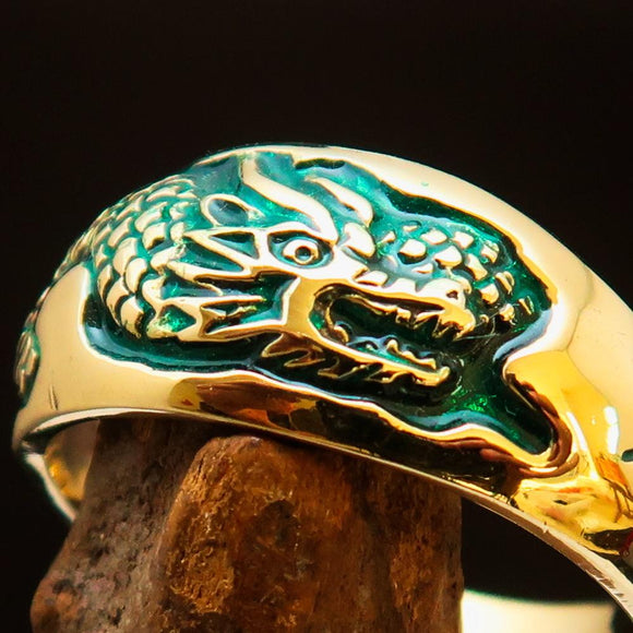 Excellent crafted Men's Band Ring Dragon Snake Green - Brass - BikeRing4u