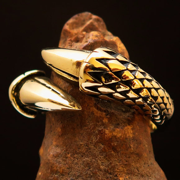 Excellent crafted Men's Band Ring Dragon Claw antiqued - Brass - BikeRing4u