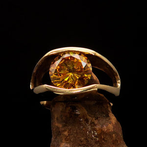 Smoothly crafted Men's Brass Solitaire Ring Yellow Cubic Zirconia CZ - BikeRing4u