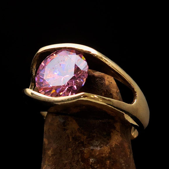 Smoothly crafted Men's Brass Solitaire Ring Pink Cubic Zirconia CZ - BikeRing4u